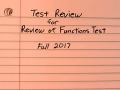 Review of Functions Test Review