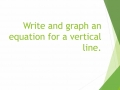 Write and graph an equation for a vertical line