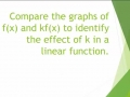 Compare the graphs of f(x) and kf(x) to identify the effect of k in a linear function