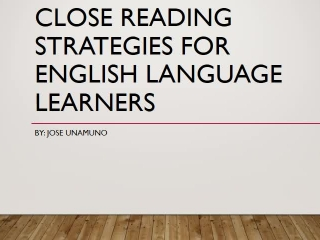 Close Reading Strategies for ELL Students