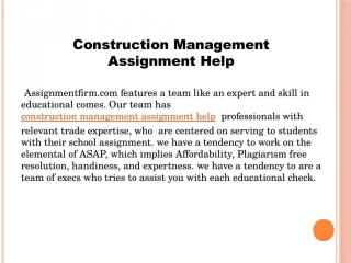 Construction Management Assignment Help video