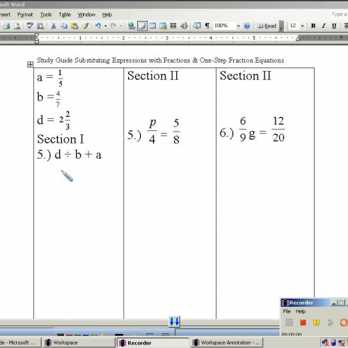 one step equations with fractions pdf