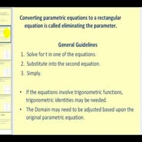 how to create parametric equations