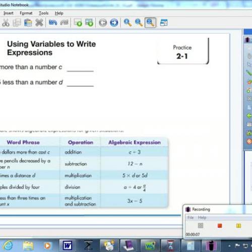2-1 Using Variables to Write Expressions - TeacherTube