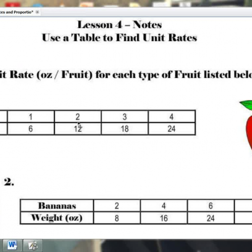 Lesson 4 use a table to find unit rates for Find a table