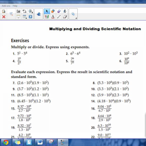 Answer Key - Multiplying & Dividing Scientific Notation WS ...