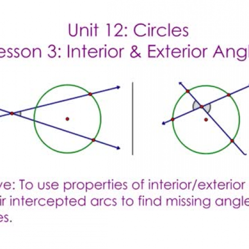 Circles interior exterior angles teachertube - How to find exterior and interior angles ...