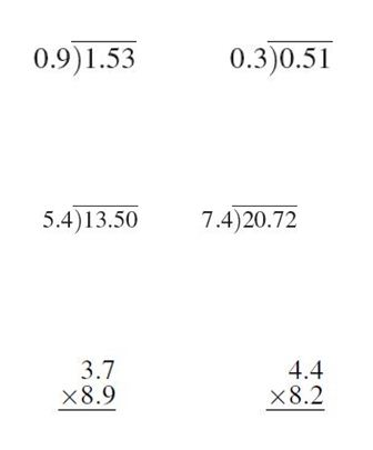 7th Grade Math and Division Worksheets
