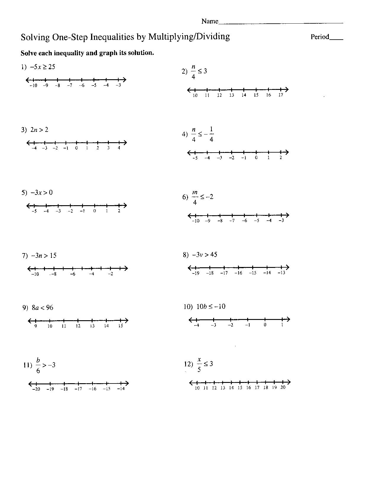 Algebra Problems and Worksheets – Inequalities on a Number Line Worksheet