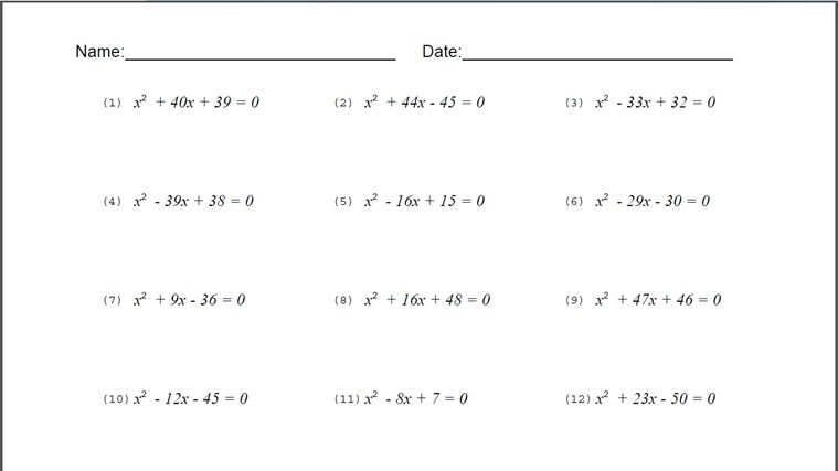 Algebra Problems and Worksheets – Quadratic Equations Worksheet with Answers