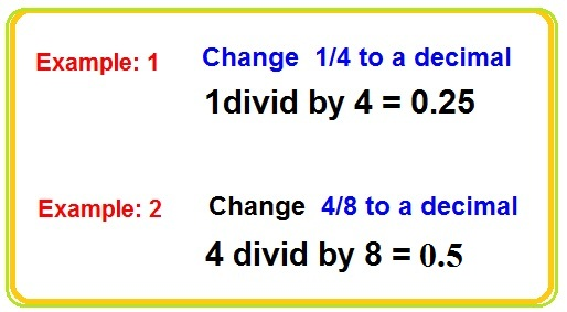 How To Change A Fraction To A Decimal And Decimals To